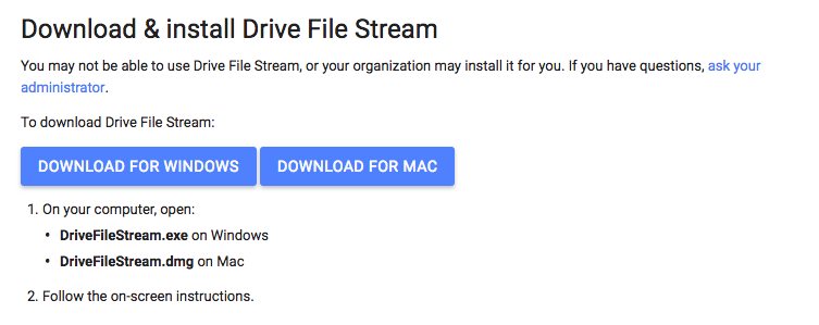 google drive file stream mac